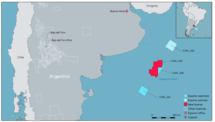 CAN 100, covering 15,000 sq km (5,791 sq mi), is the largest block in the North Argentinian basin.