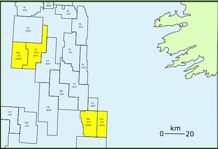 Frontier exploration license 2/13 is on the west flank of the South Porcupine basin offshore western Ireland.