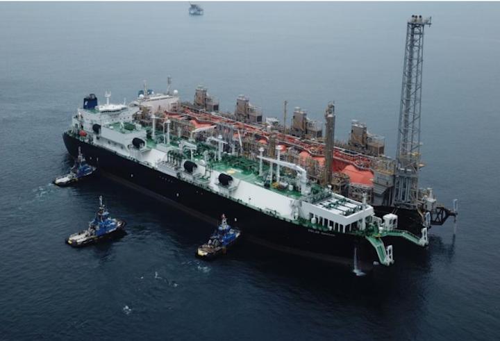 The FLNG Hilli Episeyo and FSRU Golar Nanook offshore Cameroon.