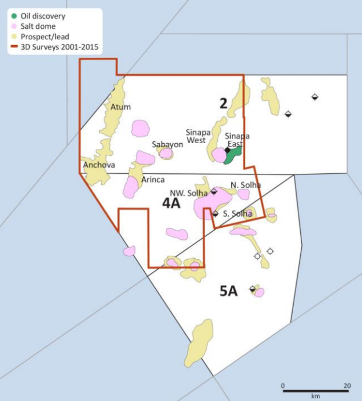 Discovery, prospects, and leads offshore Guinea-Bissau.