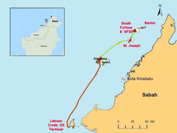 The 2011 North Sabah enhanced oil recovery production-sharing contract contains the St Joseph, South Furious, SF30 and Barton fields offshore Sabah, which collectively export to the Labuan crude oil terminal.