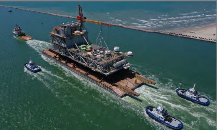 The platform decks for the Leviathan development have sailed from the Gulf Coast fabrication yard for Israel.