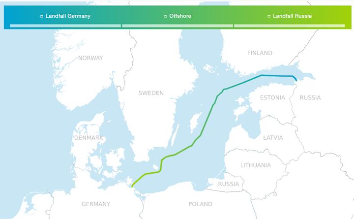 Nord Stream 2 route through the Baltic Sea.