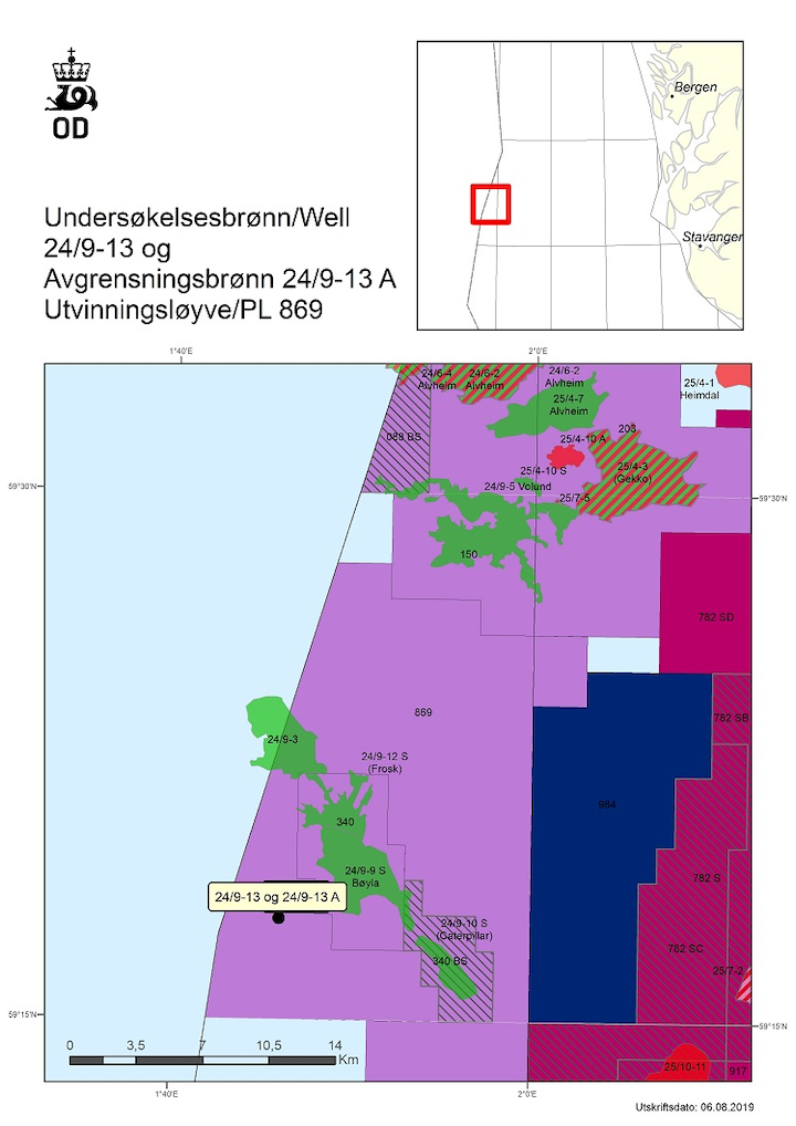 Wildcat well 24/9-13 and appraisal well 24/9-13 A are in production license 869 in the Norwegian North Sea.