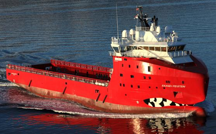 The Skandi Feistein is a large platform supply vessel built in Norway in 2011.
