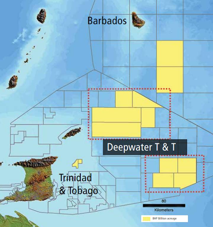 The company's deepwater acreage off Trinidad and Tobago.