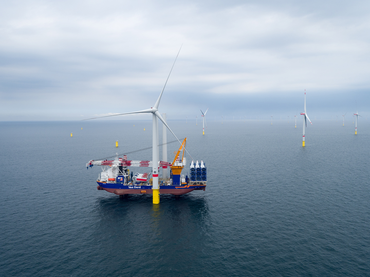 The offshore installation vessel Aeolus at the Deutsche Bucht offshore wind farm in the German North Sea.