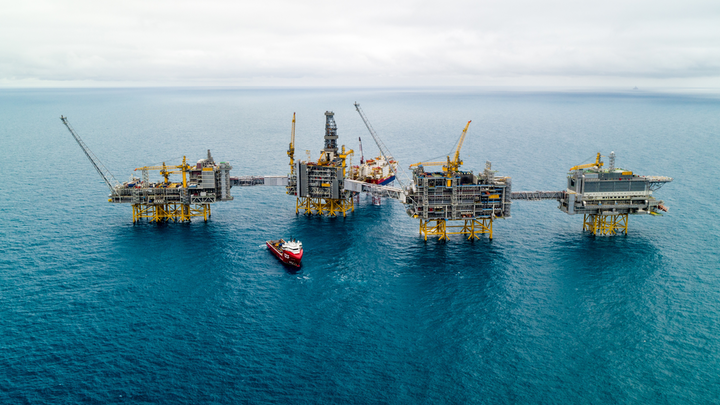 The Johan Sverdrup Phase 1 field development consists of a living quarters platform with auxiliary systems, a process platform, a drilling platform, and a riser platform.
