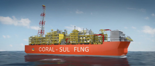 The Coral Sul FLNG facility will operate in a water depth of 2,000 m (6,562 ft) off Mozambique.