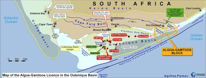 The Algoa-Gamtoos license is in the Outeniqua basin offshore South Africa.