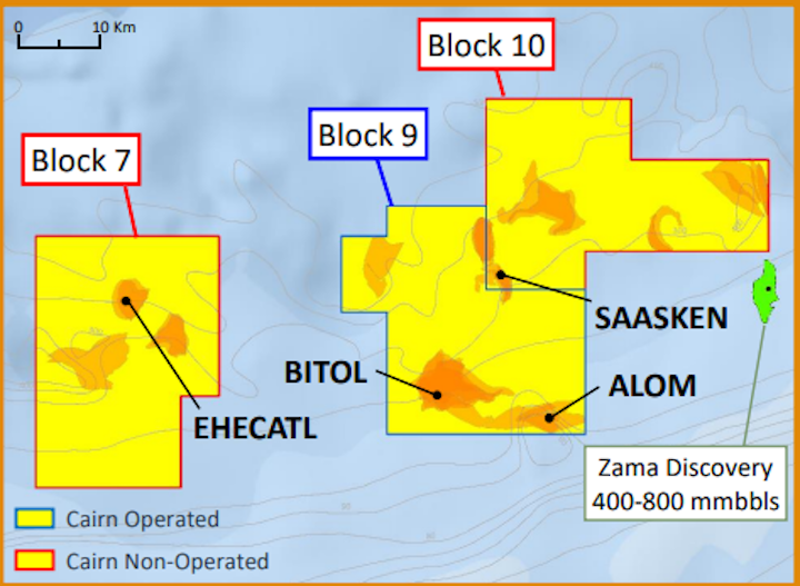 The jackup Maersk Developer will drill the Alom and Bitol prospects on block 9 offshore Mexico in the Sureste basin.