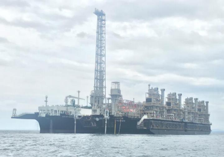 The FLNG Hilli Episeyo and FSRU Golar Nanook alongside offshore Cameroon.