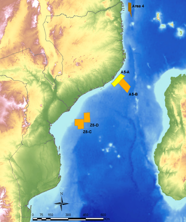 Location of blocks A5-B, Z5-C, and Z5-D offshore Mozambique.