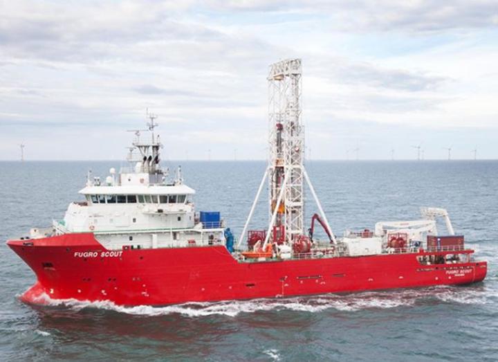 The geotechnical drilling vessel Fugro Scout will be used for the multi-year contract with Germany's Federal Maritime and Hydrographic Agency.