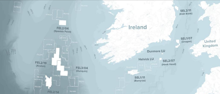 The company's various licenses offshore Ireland.