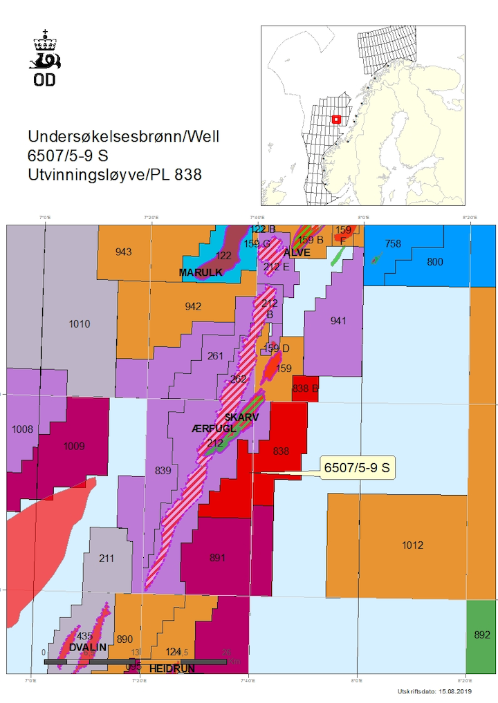 Location of well 6507/5-9S on the Shrek prospect offshore Norway.