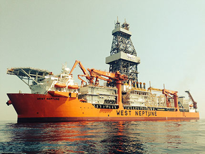 The ultra-deepwater drillship West Neptune is under contract to LLOG in the US Gulf of Mexico.