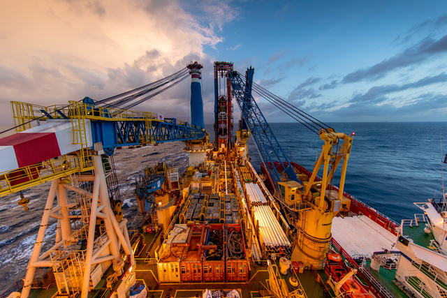 The onboard vessel photo shows J-lay operations from the Saipem FDS2.