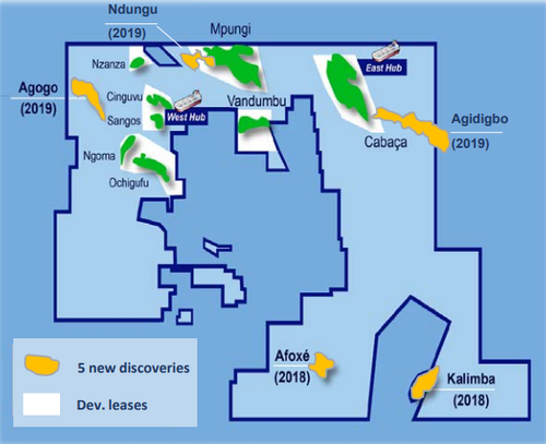 Location of the five recent discoveries in block 15/06 offshore Angola.